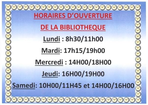 HORAIRES PROVISOIRES D'OUVERTURE DE LA BIBLIOTHEQUE
