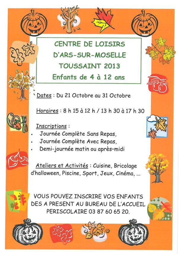 CENTRE DE LOISIRS TOUSSAINT 2013