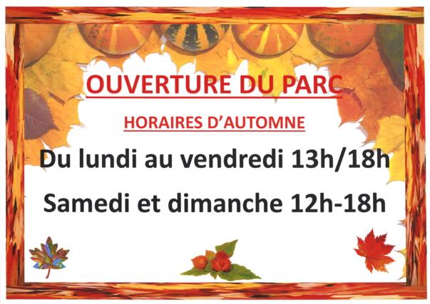 HORAIRES D'OUVERTURE DU PARC MUNICIPAL automne 2021