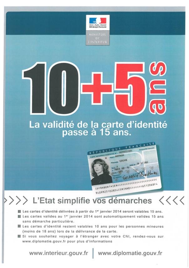 LA CARTE NATIONALE D'IDENTITE VALIDE 15 ANS à compter du 1er janvier 2014