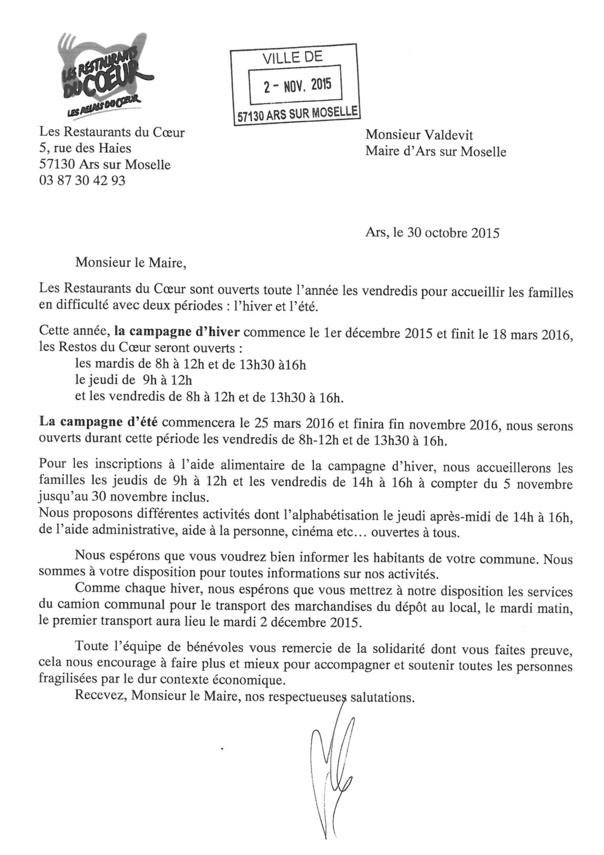 CAMPAGNE D'HIVER DES RESTAURANTS DU COEUR du 01/12/2015 au 18/03/2016