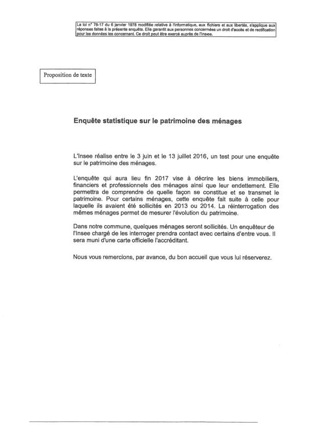 ENQUETE STATISTIQUE SUR LE PATRIMOINE DES MENAGES du 3 juin au 13 juillet