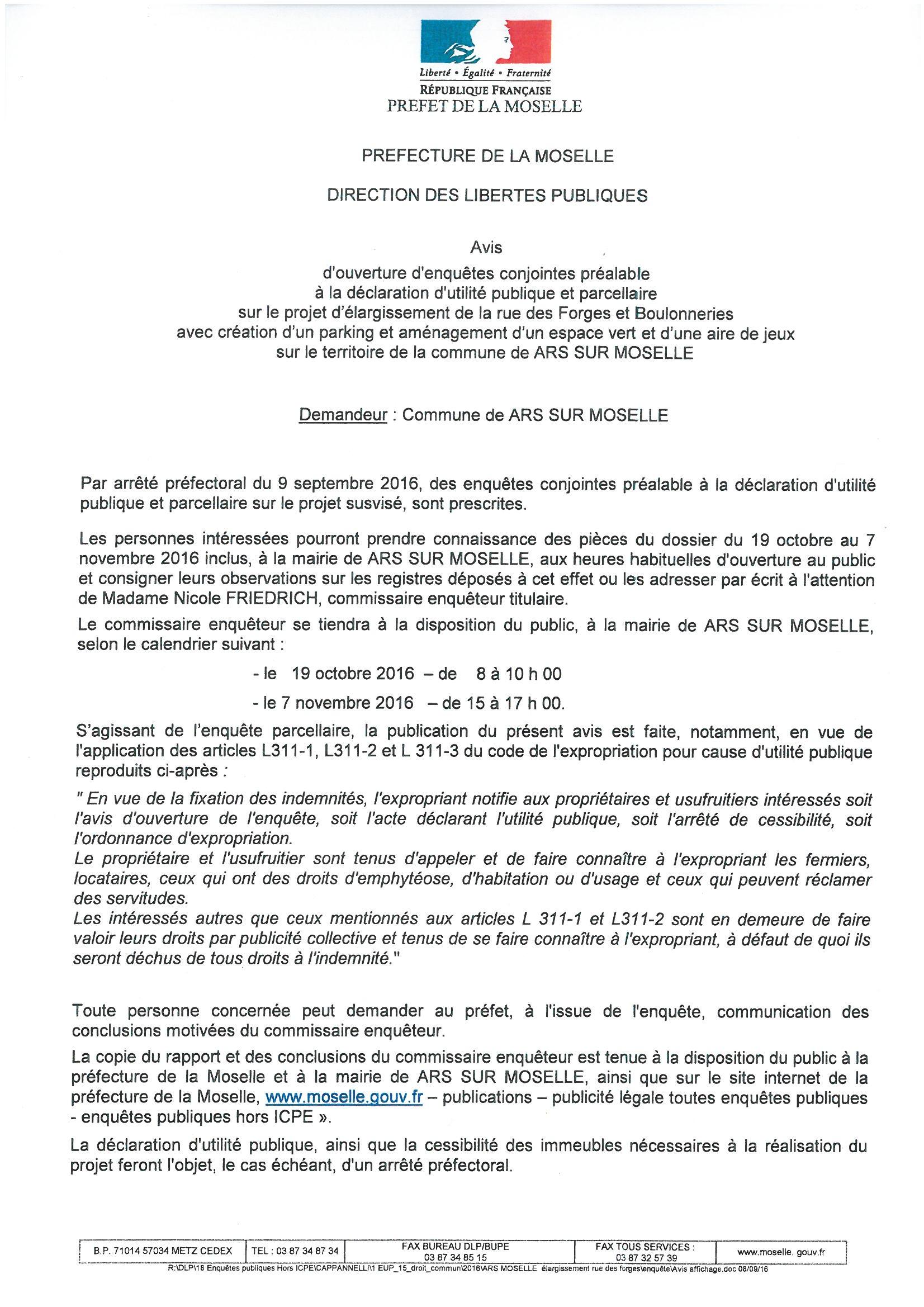 ENQUETES PUBLIQUES - DUP-  rue des Forges et Boulonneries