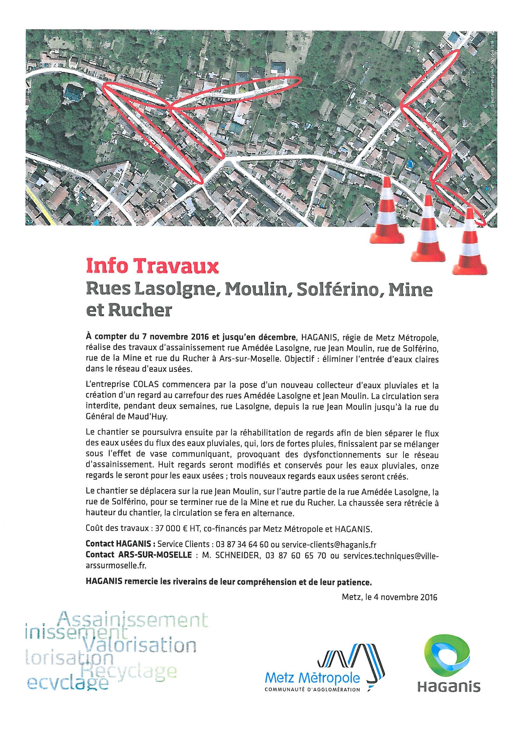 INFO TRAVAUX rues Lasolgne, Moulin, Solférino, Mine et Rucher du 7 nov.à déc.