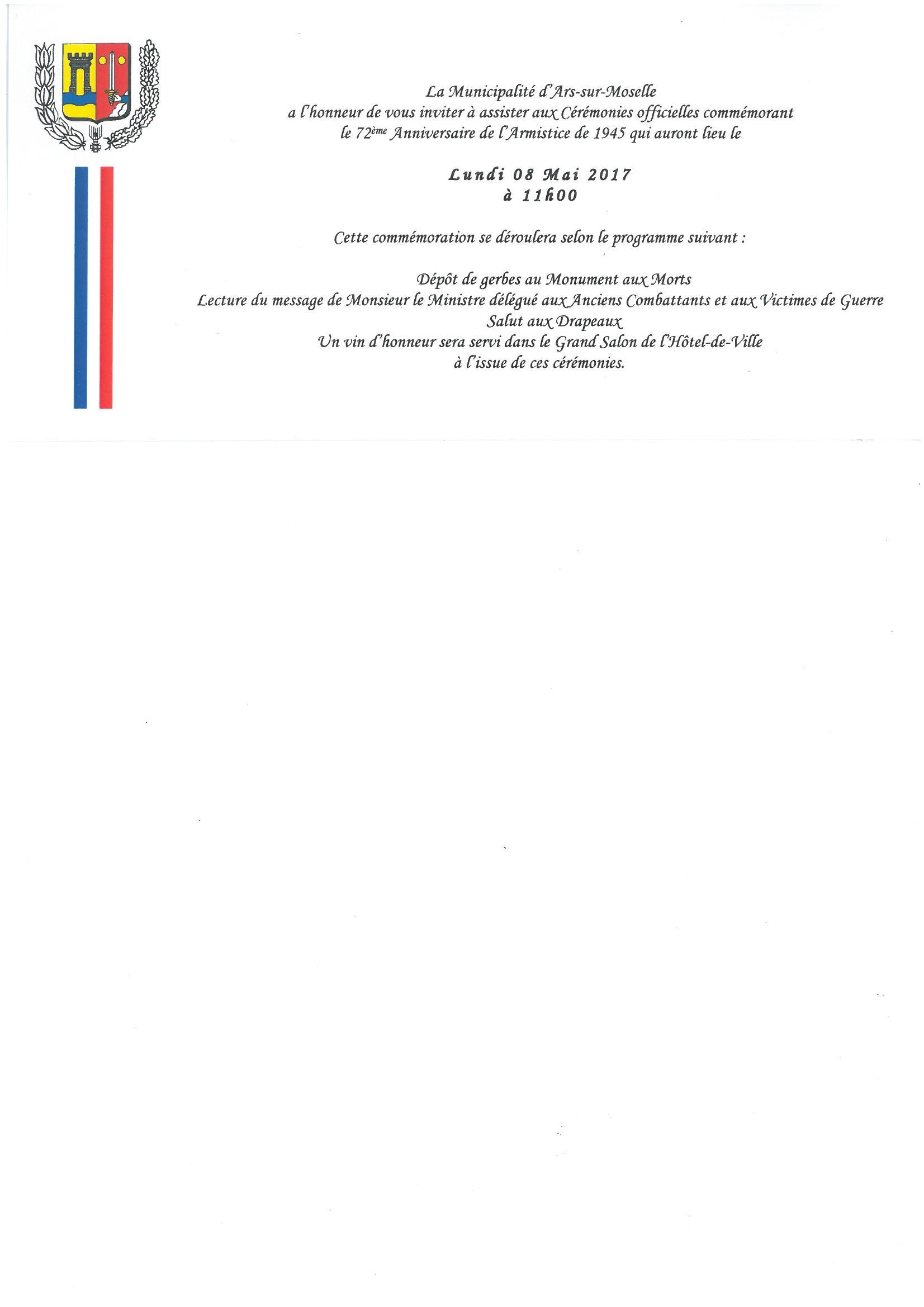 72ème anniversaire de l'armistice de 1945