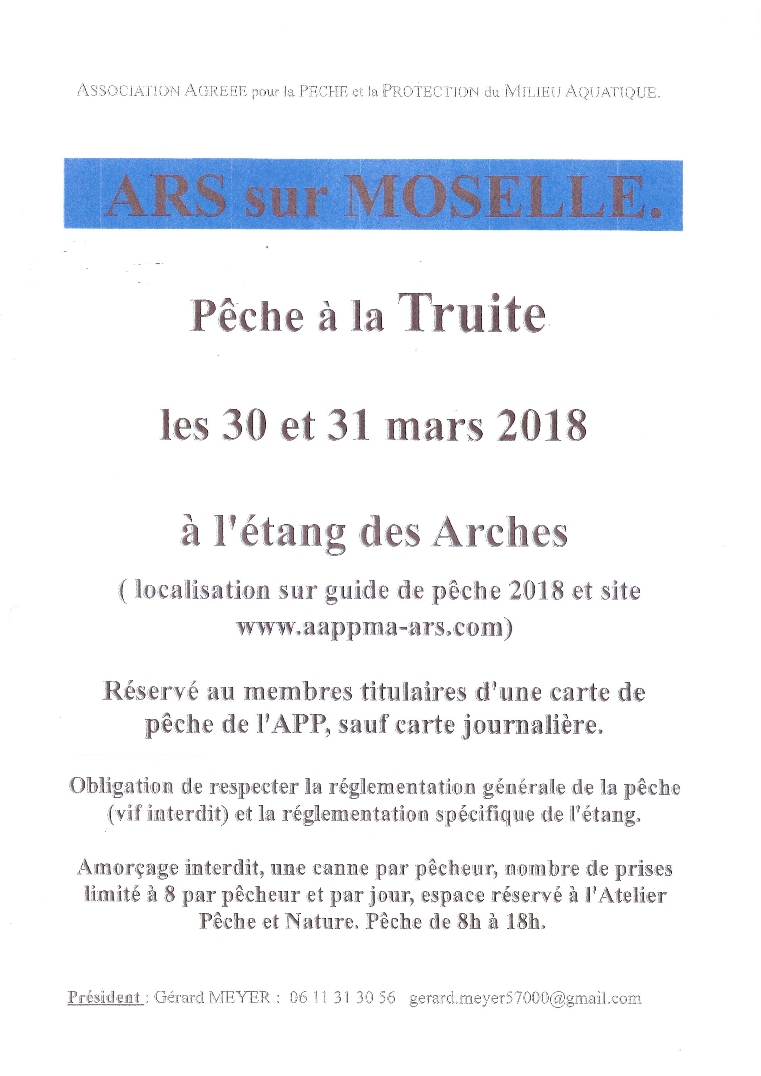 PECHE A LA TRUITE les 30 et 31 mars