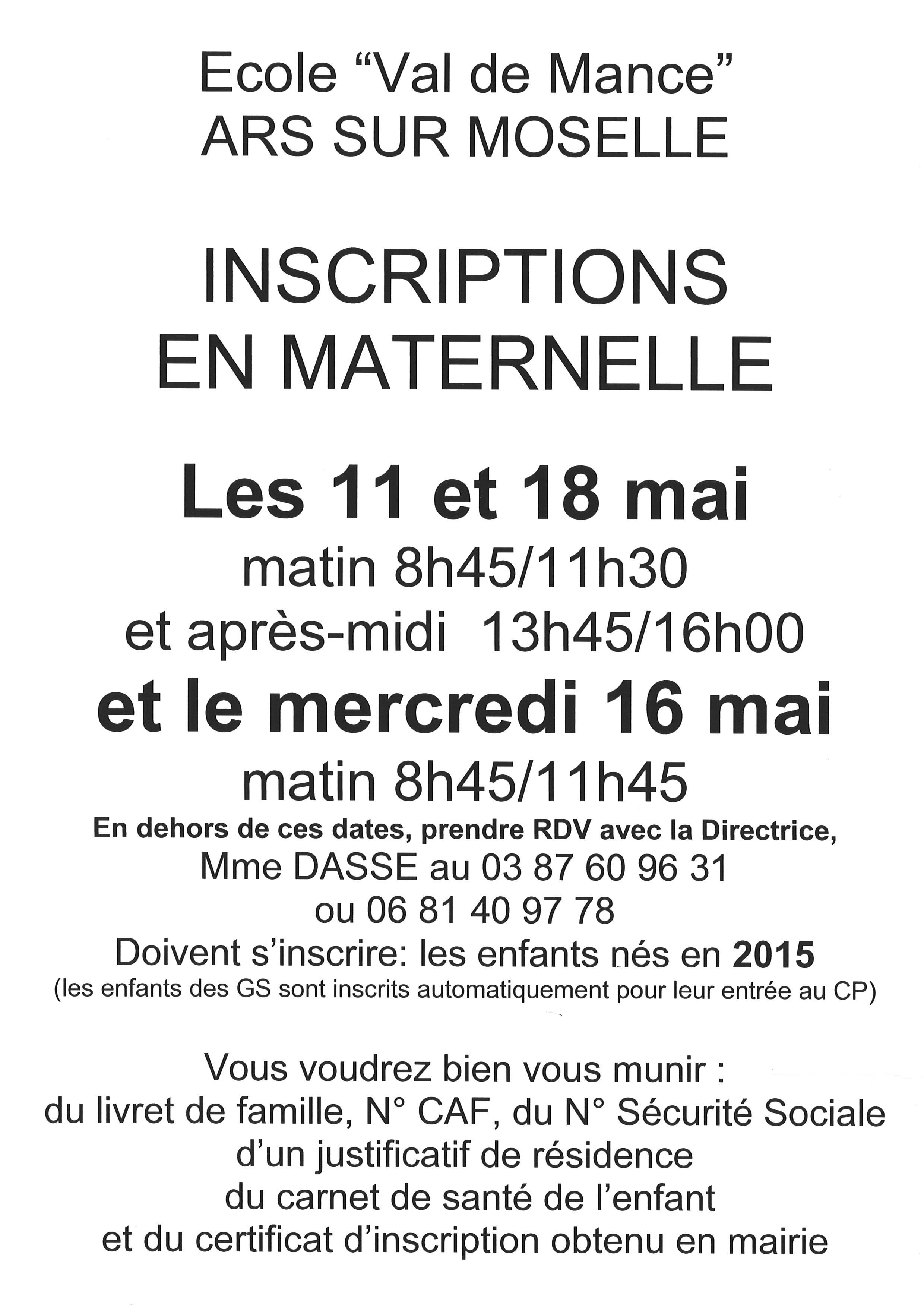 INSCRIPTIONS EN MATERNELLE les 11,16,18 mai