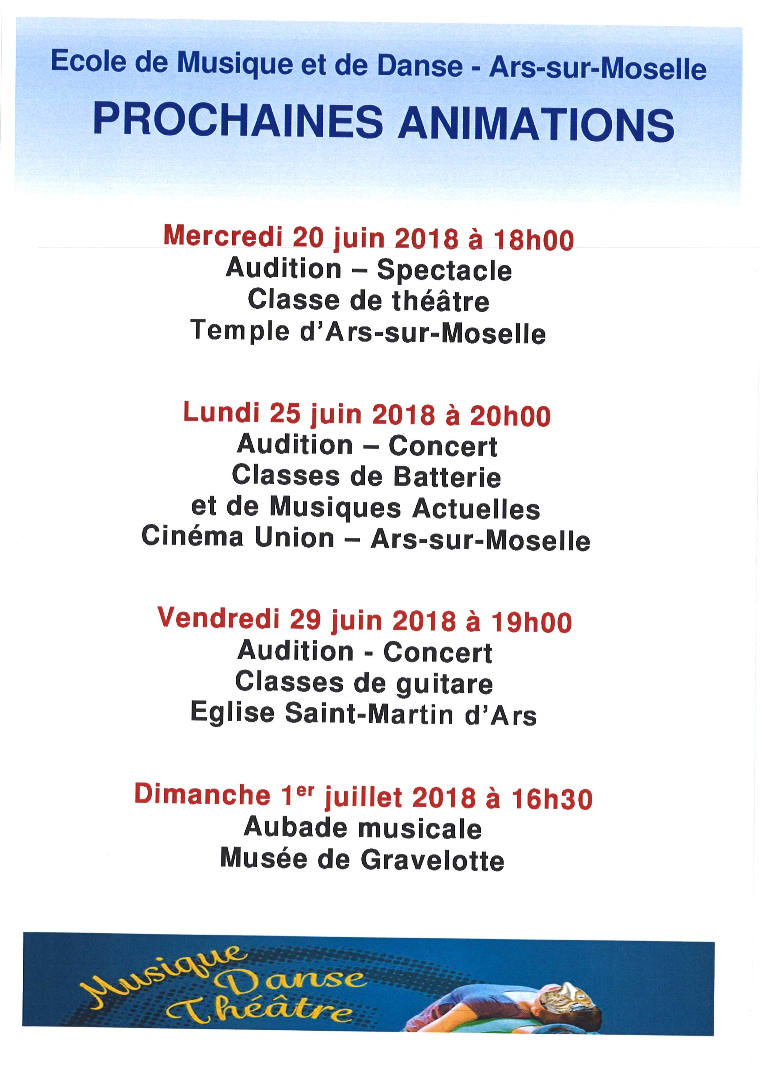 ECOLE DE MUSIQUE ET DE DANSE prochaines animations juin/juillet