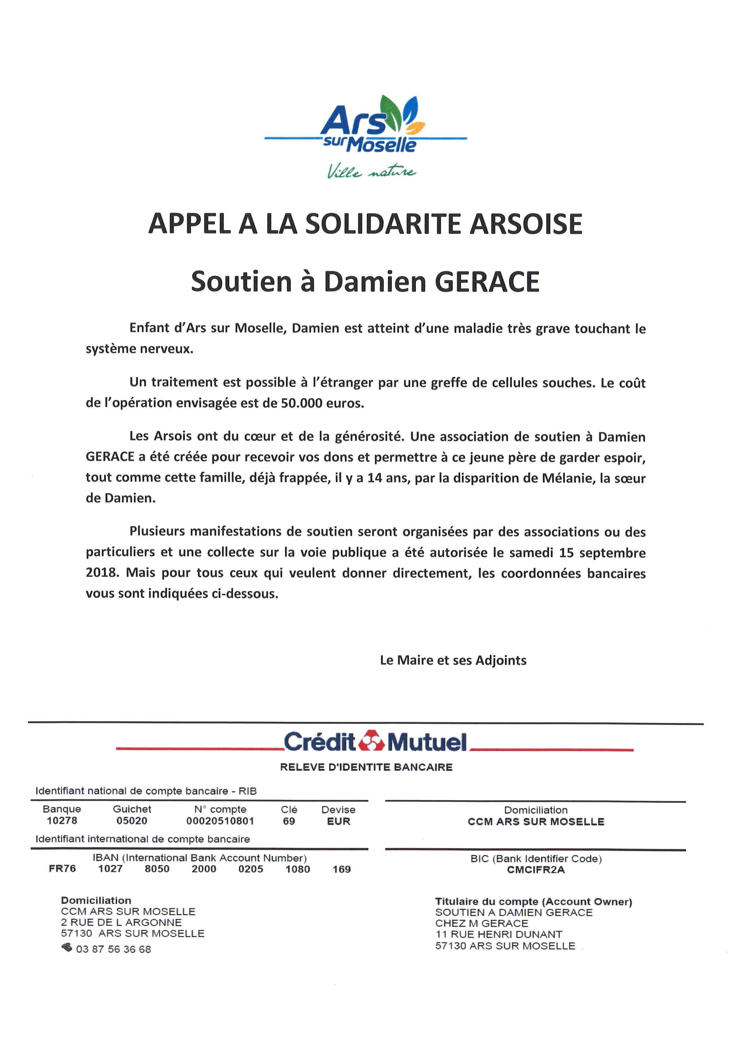APPEL A LA SOLIDARITE ARSOIS soutien à Damien GERACE