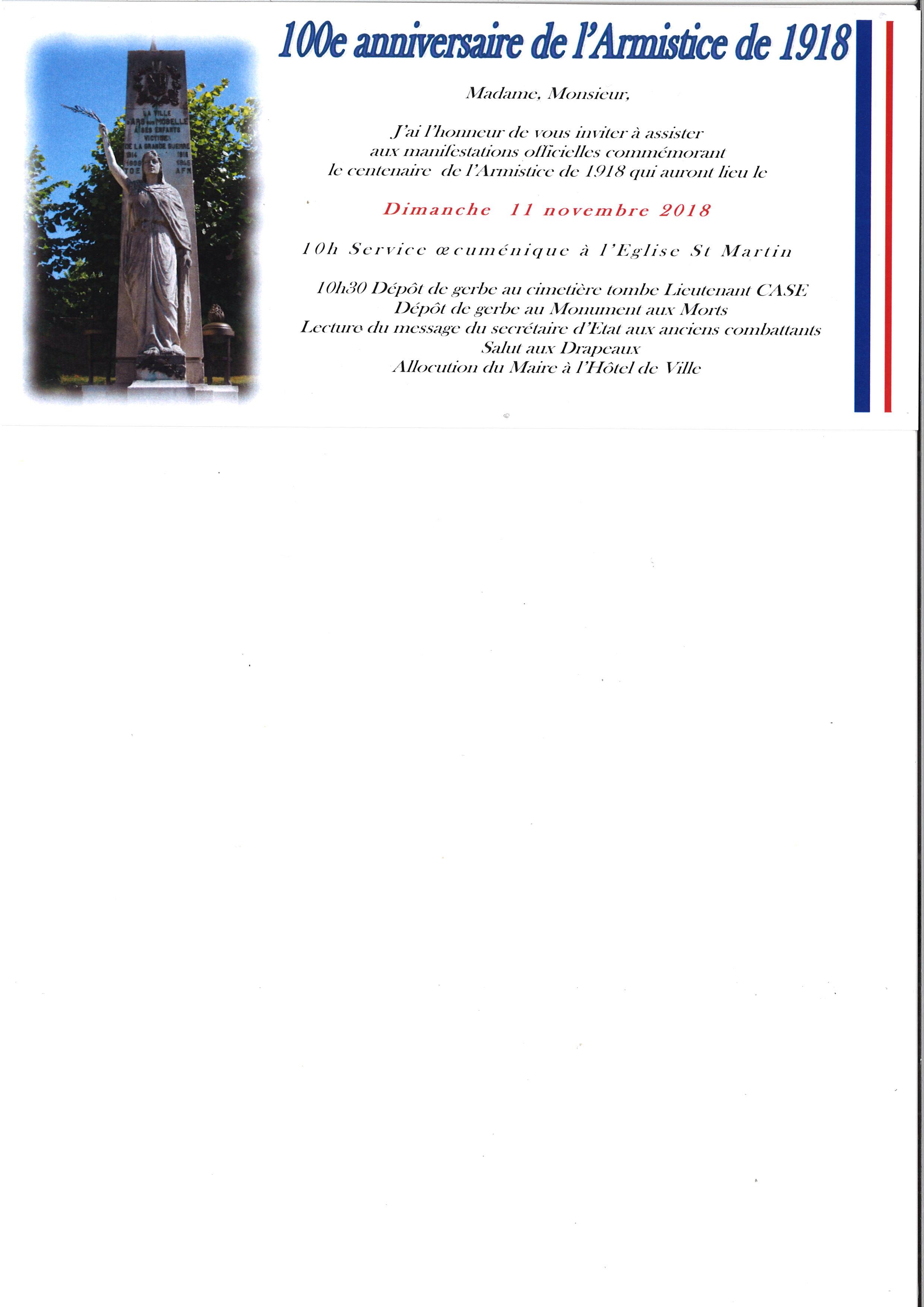CENTENAIRE DE L'ARMISTICE DE 1918 dimanche 11 novembre