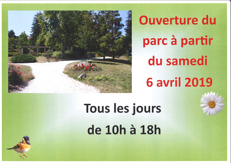 OUVERTURE DU PARC samedi 6 avril