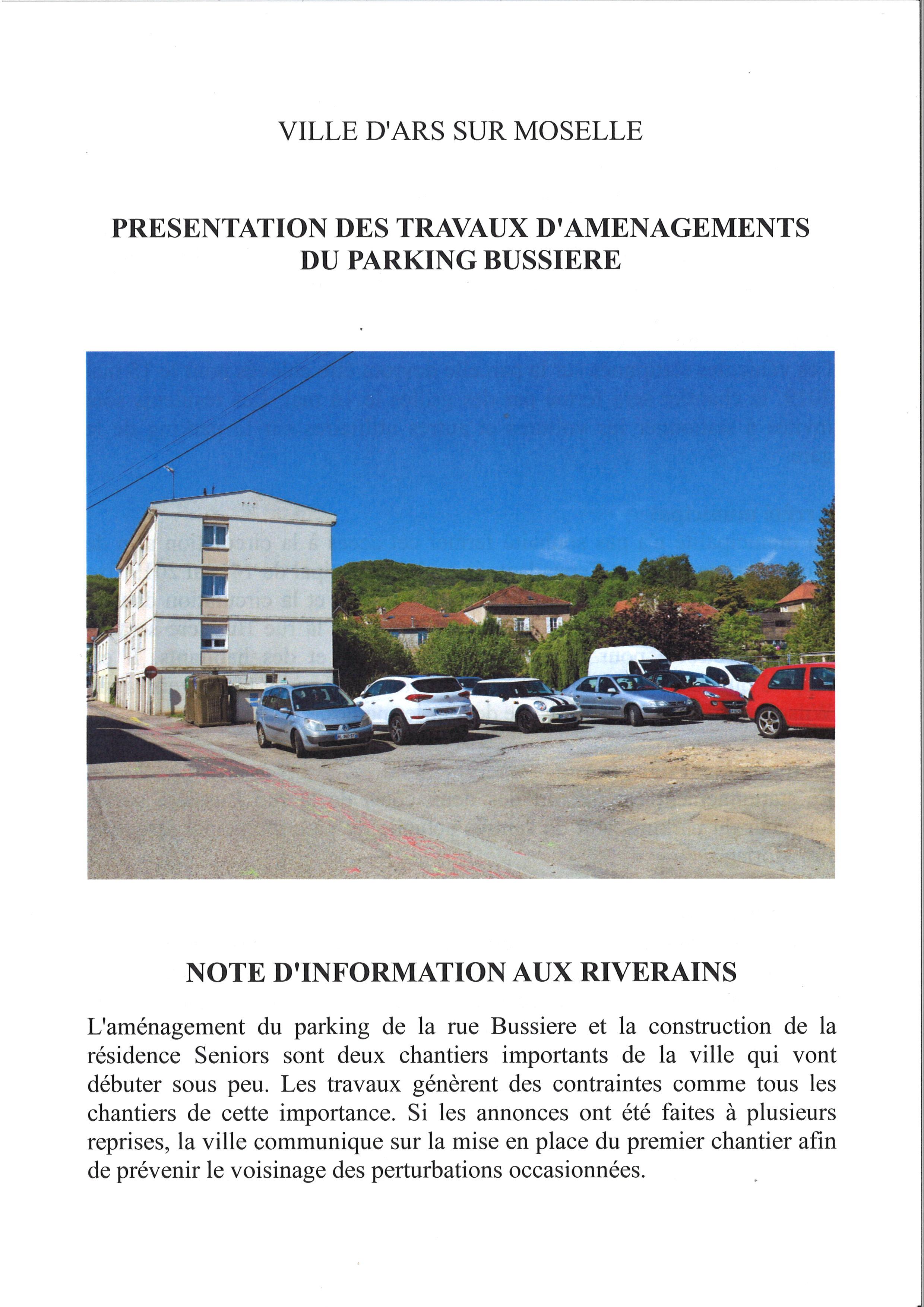 TRAVAUX PARKING BUSSIERE stationnement interdit à partir du 16 mai