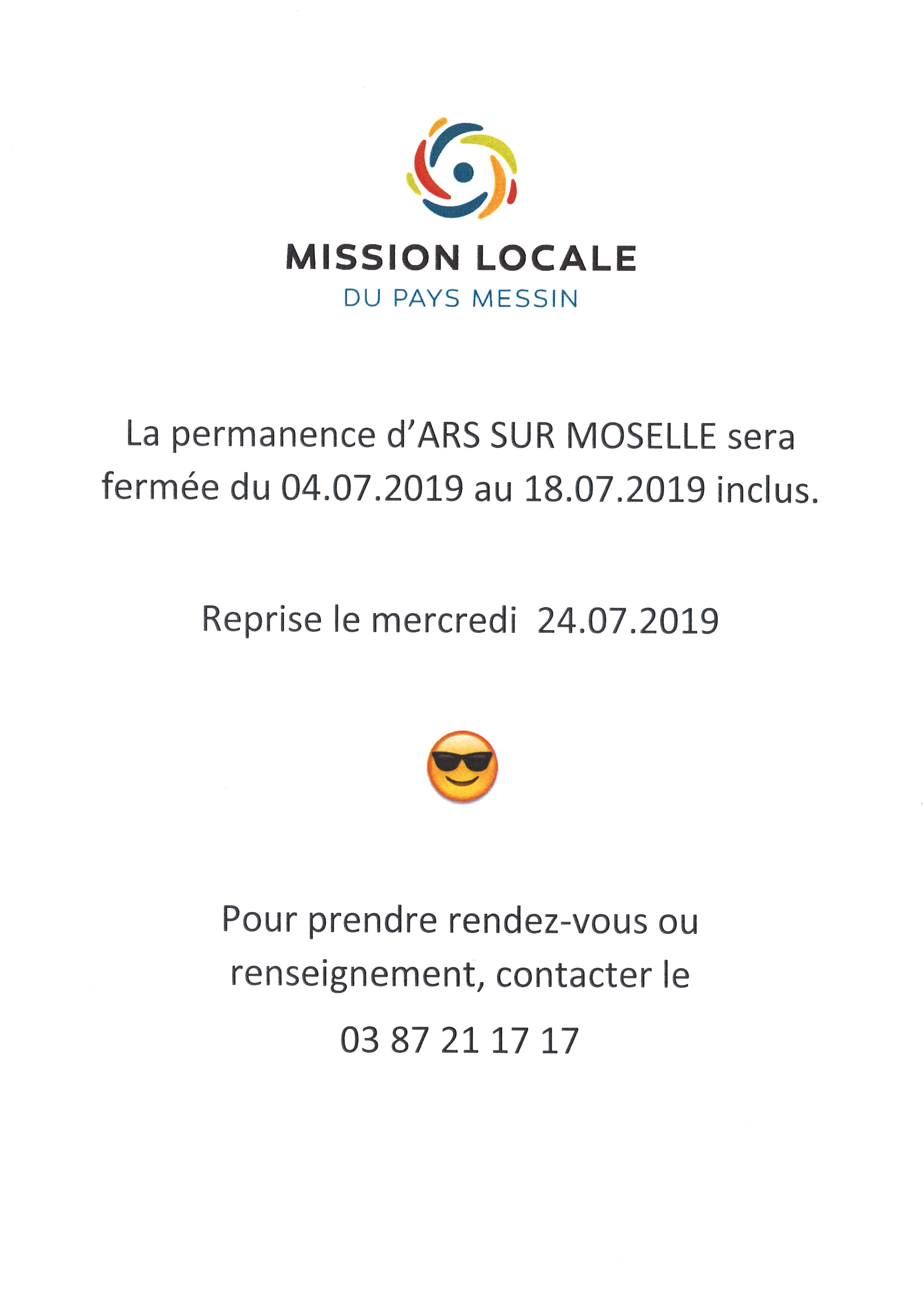 MISSION LOCALE fermée du 4 au 18 juillet