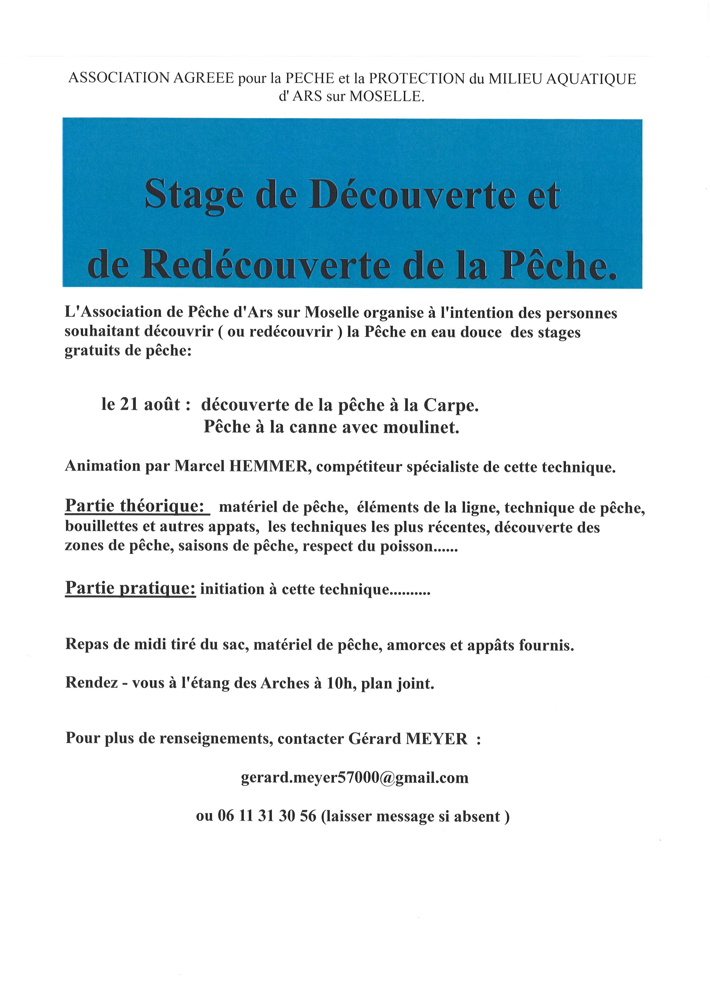 STAGE DE DECOUVERTE et de REDECOUVERTE DE LA PECHE mercredi 21 août