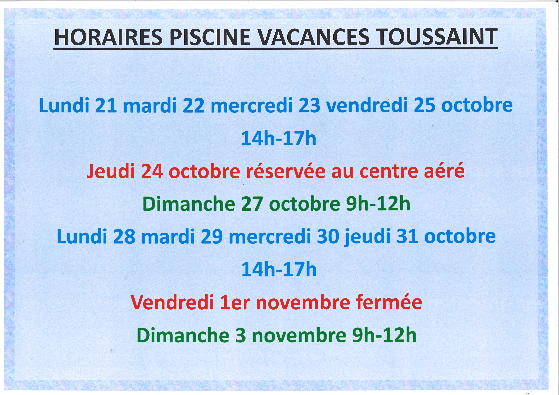 HORAIRES PISCINE vacances de Toussaint
