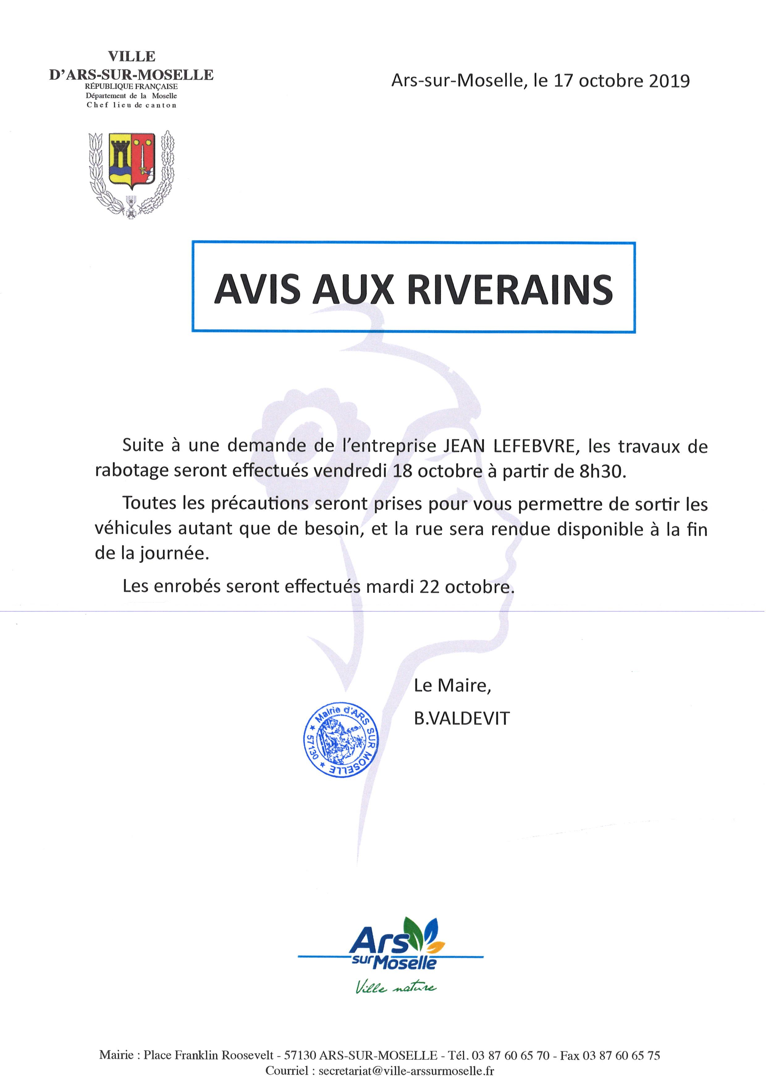 AVIS AUX RIVERAINS de la rue de la Paix