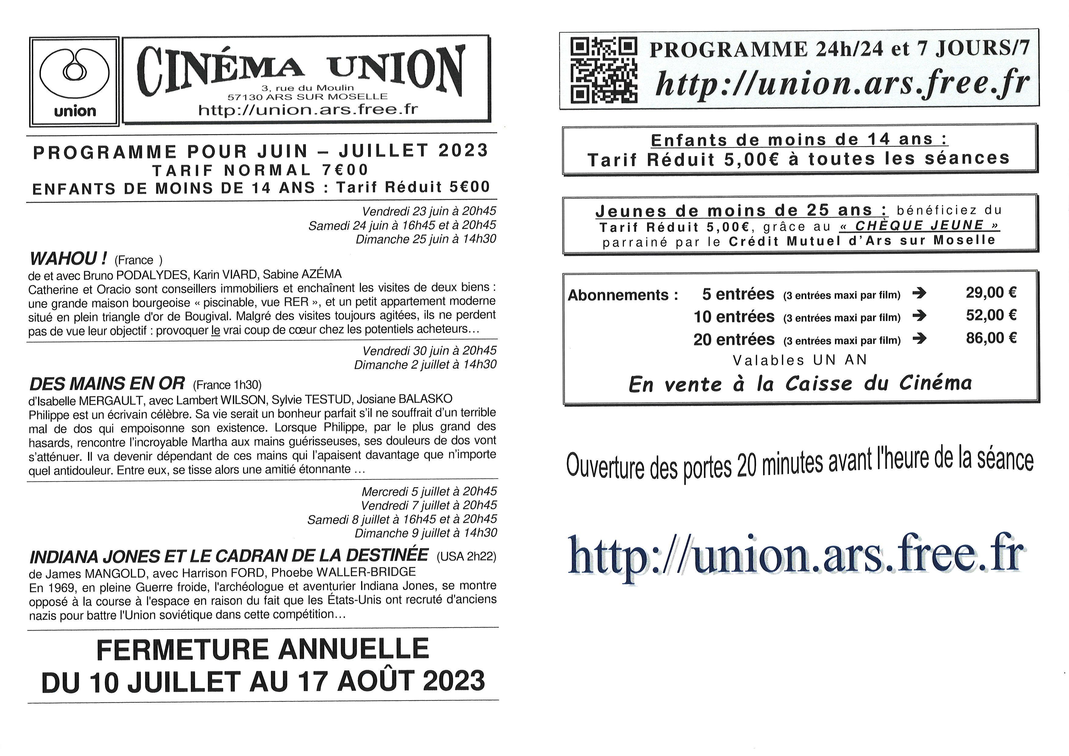 CINEMA UNION juillet août 2021