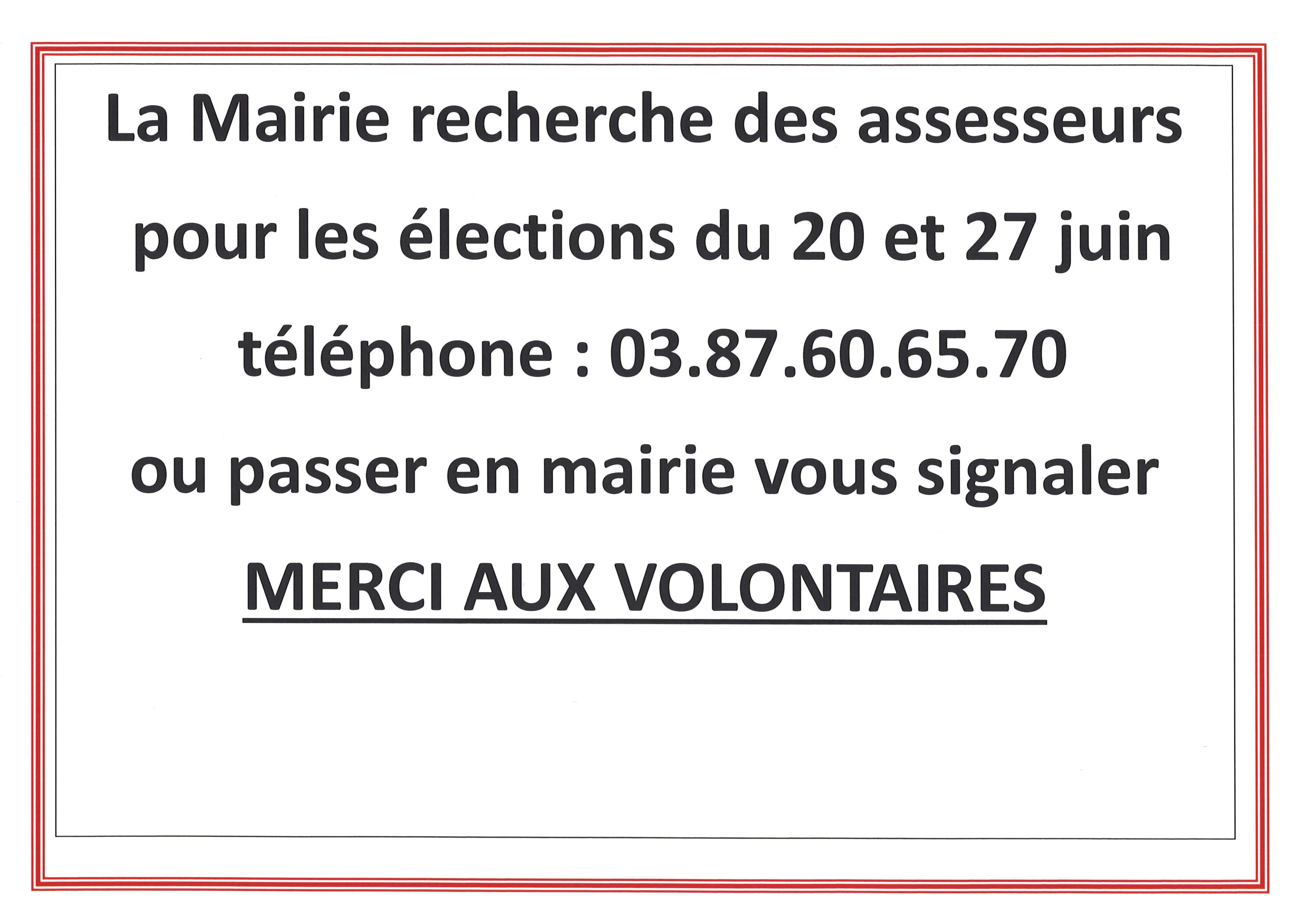URGENT - LA MAIRIE recherche des assesseurs pour les élections