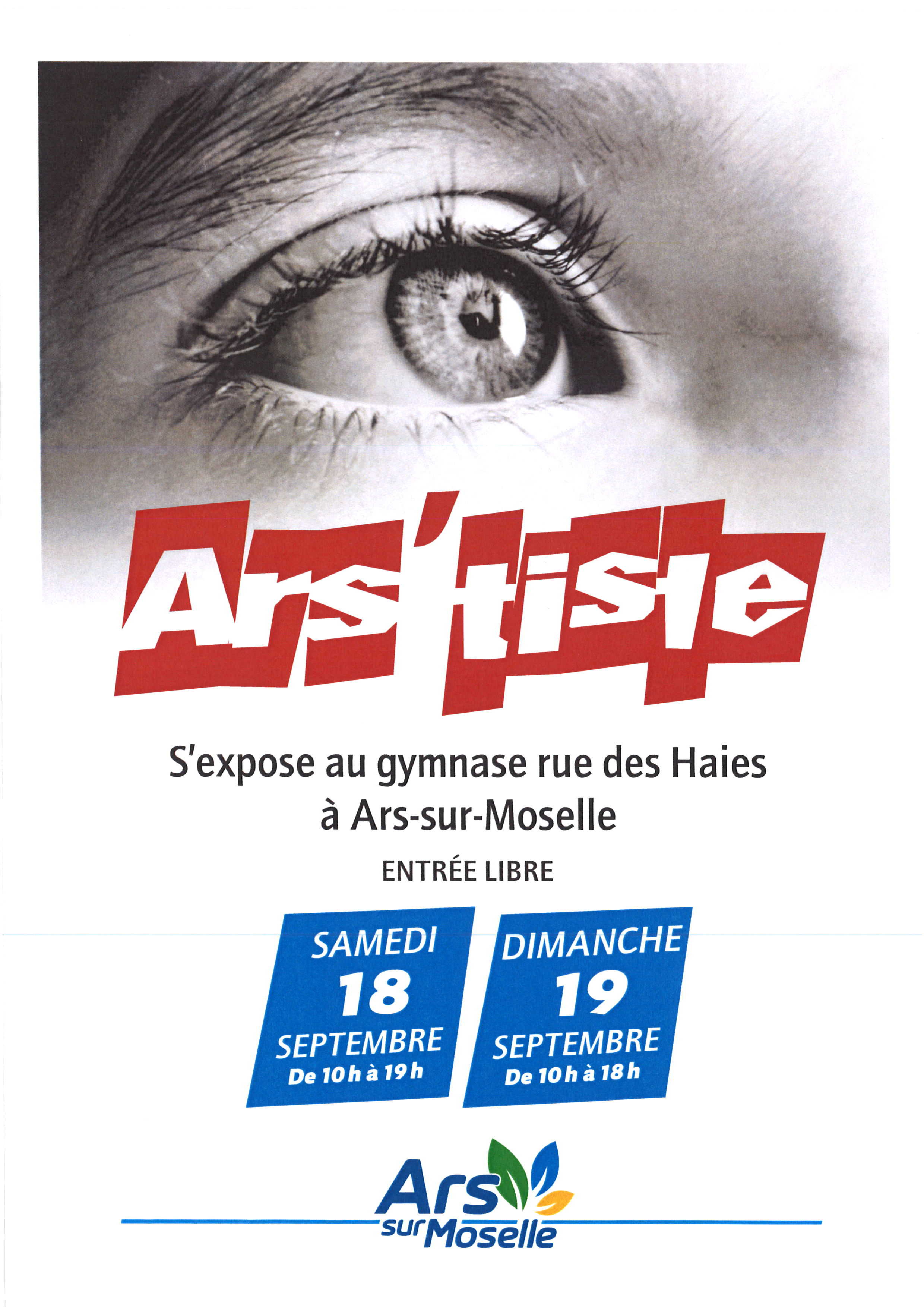 EXPO ARS'TISTE samedi 18 et dimanche 19 septembre 2021