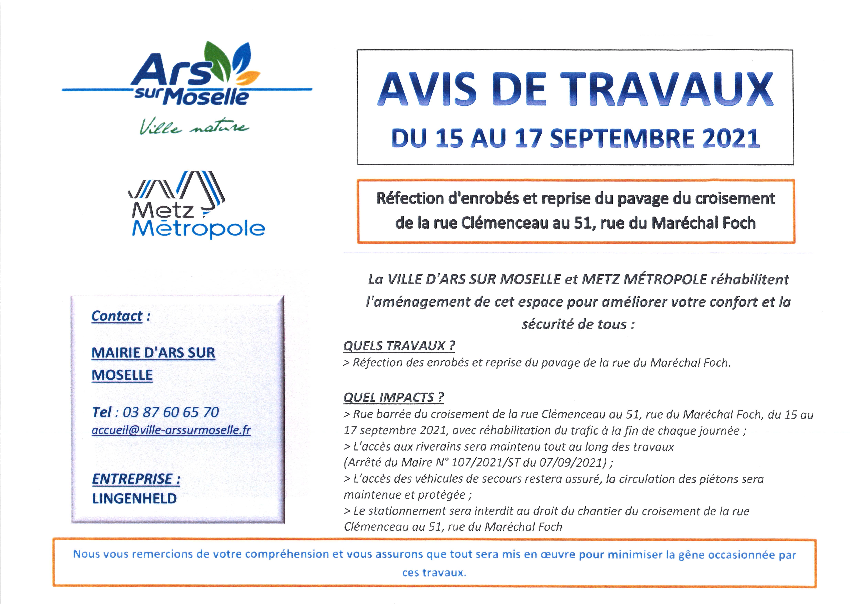AVIS DE TRAVAUX rues Clémenceau et Foch du 15 au 17 septembre 2021