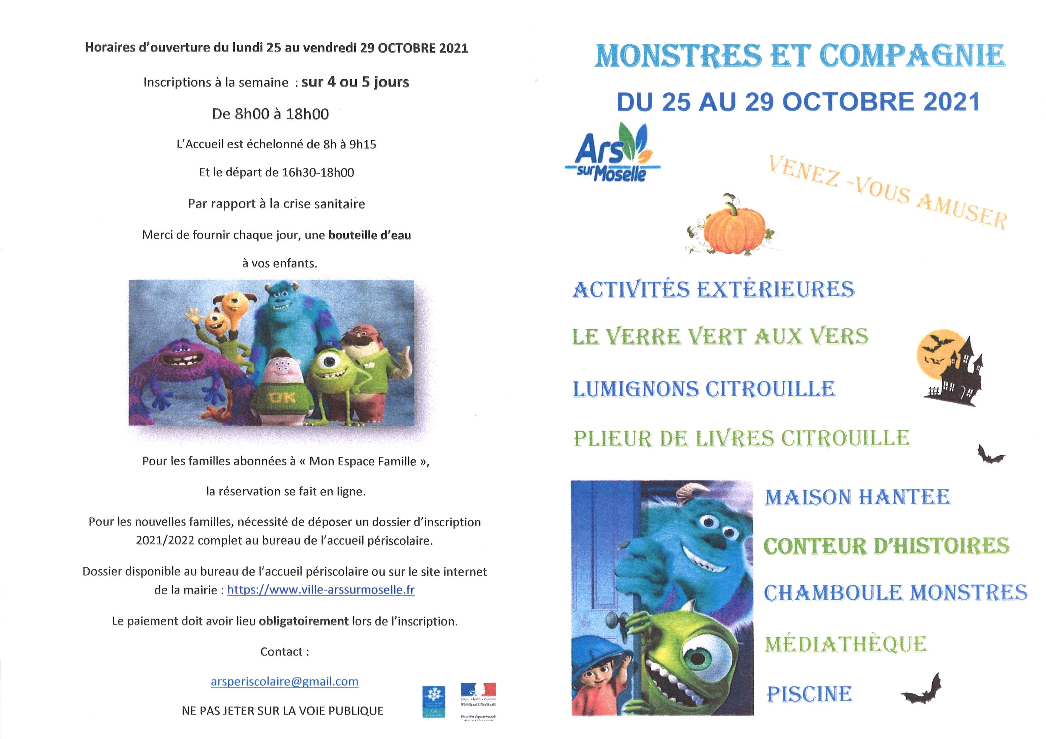 Centre aéré MONSTRES ET COMPAGNIE  du 25 au 29 octobre 2021