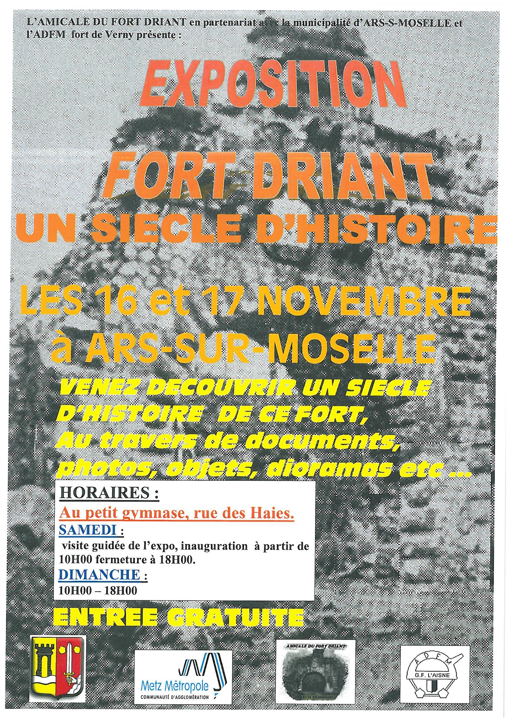 EXPOSITION FORT DRIANT les 16 et 17 novembre