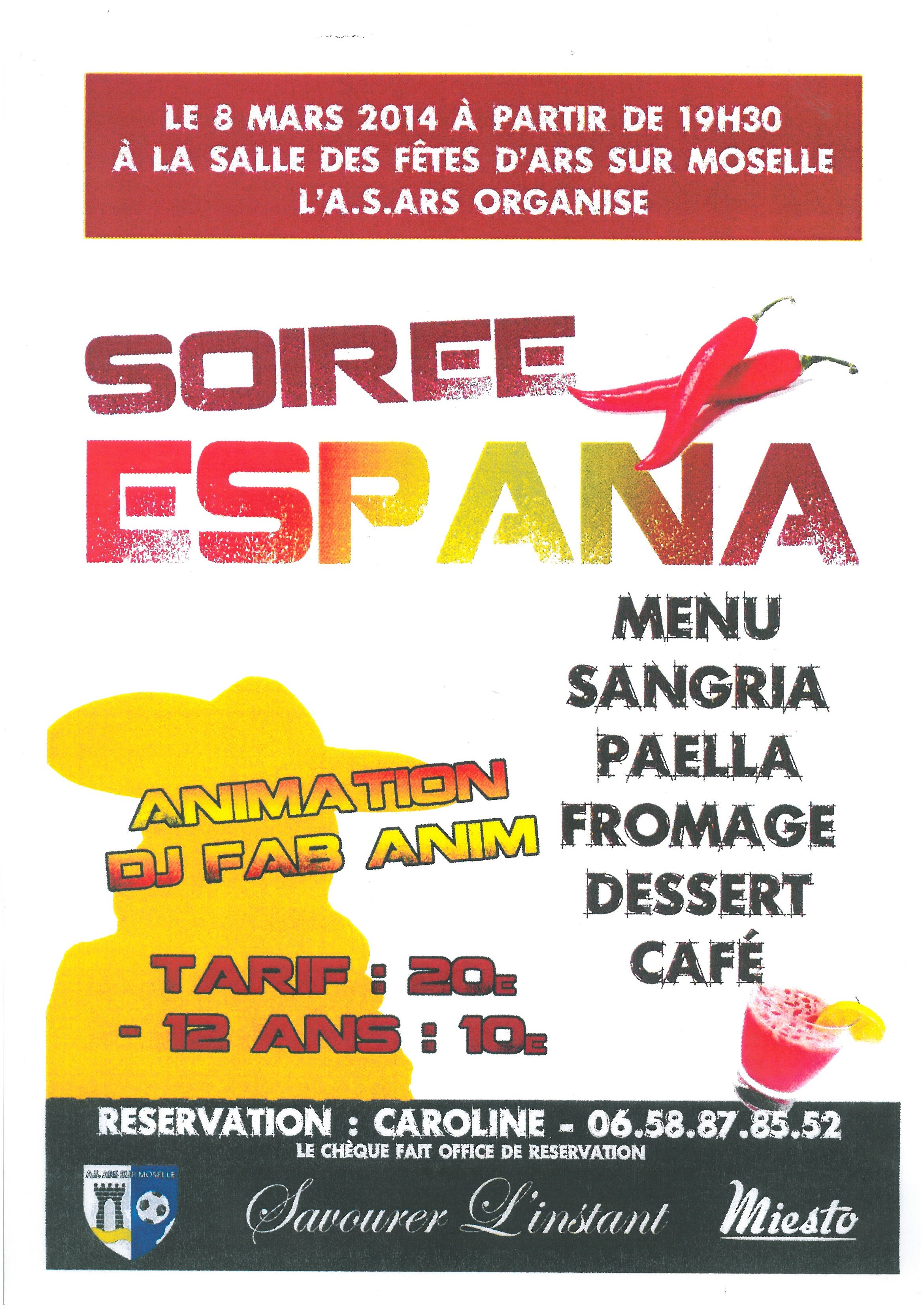 SOIREE ESPAGNOLE samedi 8 mars