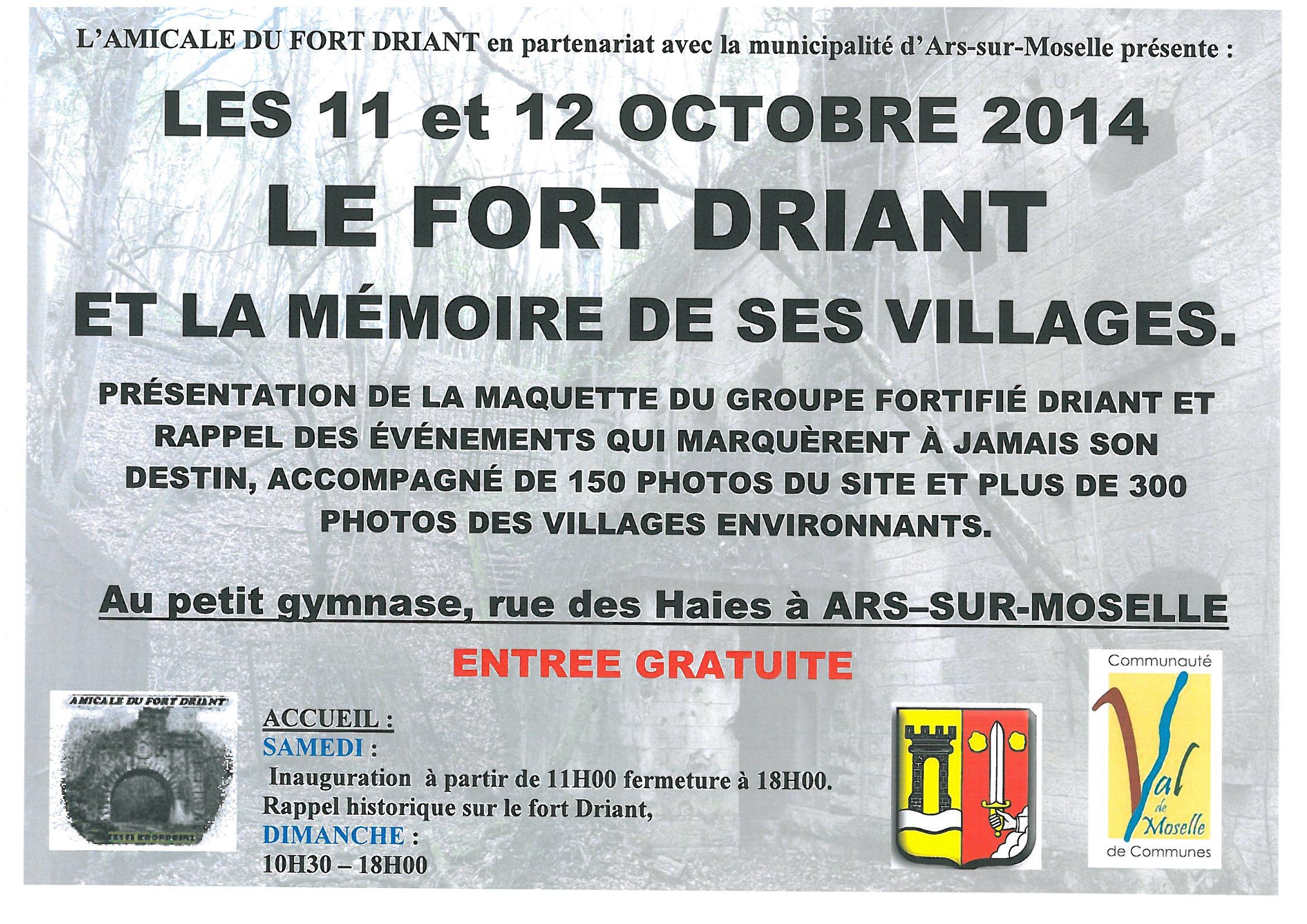 EXPOSITION SUR LE FORT DRIANT les 11 et 12 octobre