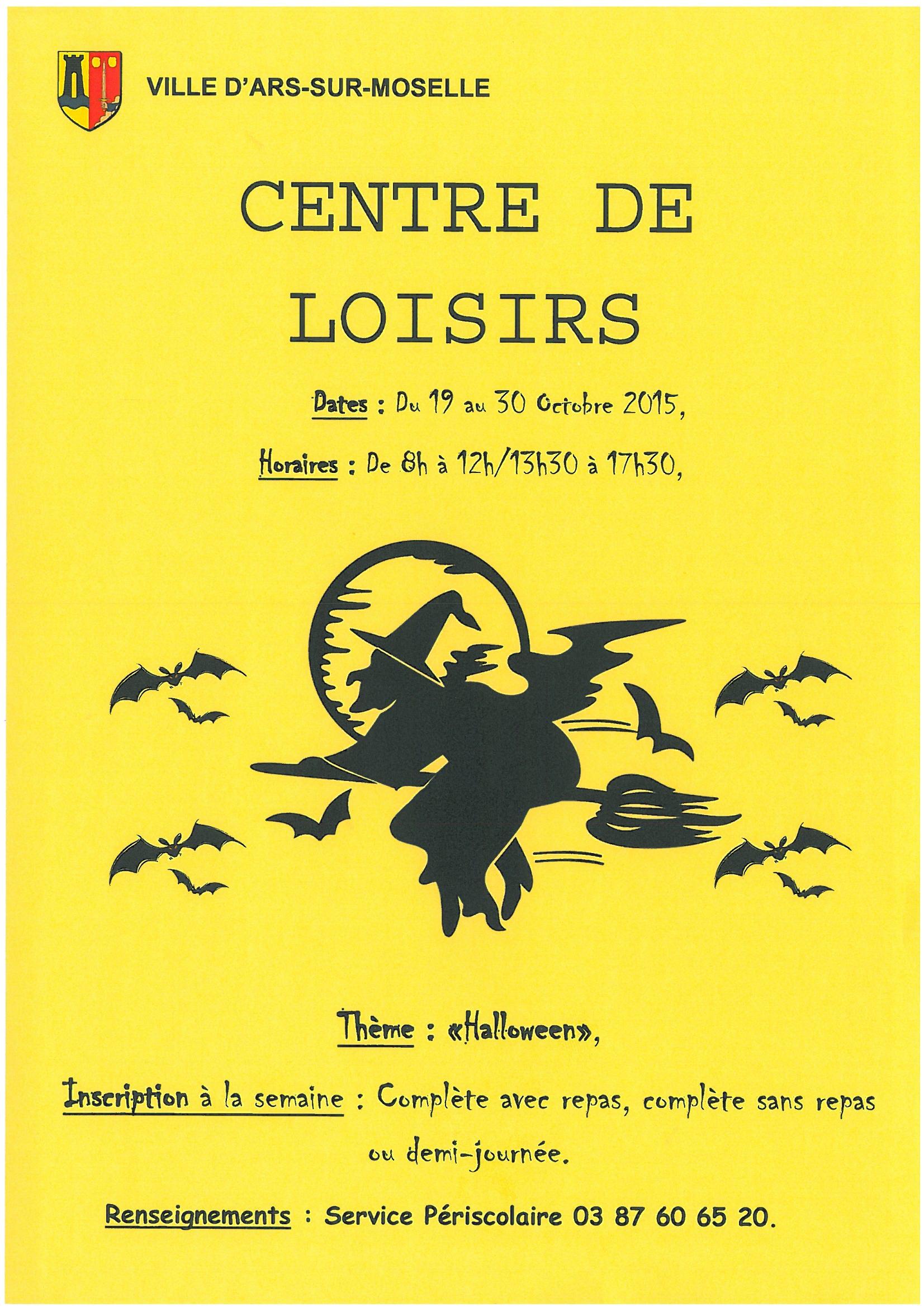 CENTRE DE LOISIRS du 19 au 30 octobre