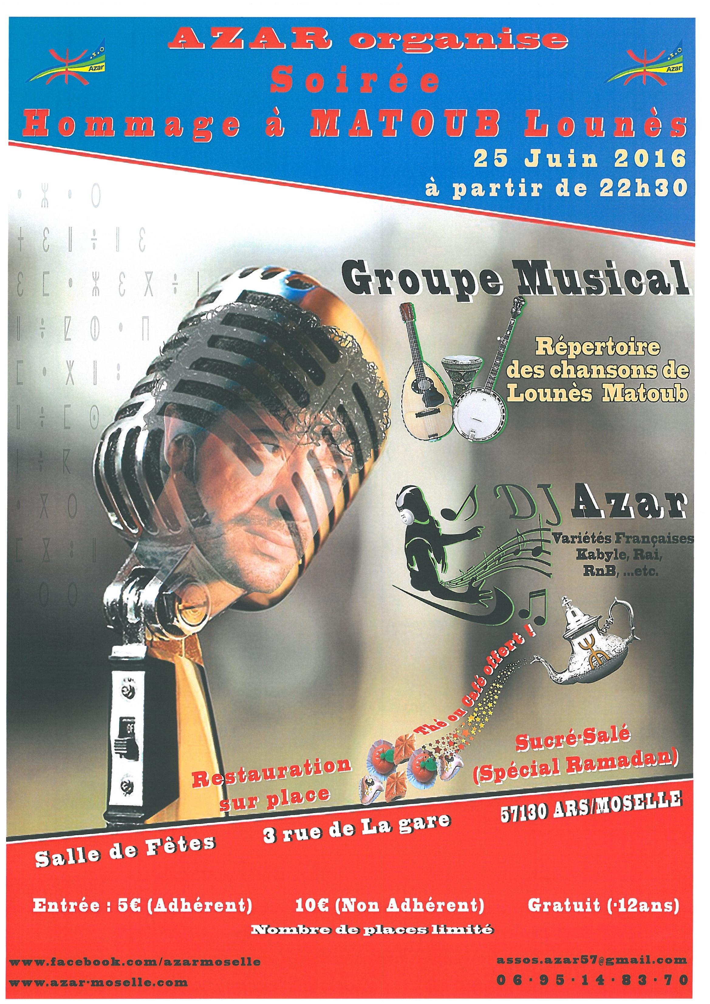 SOIREE HOMMAGE à MATOUB Lounès samedi 25 juin